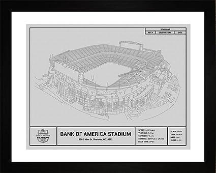 Amazon carolina panthers bank of america stadium framed carolina panthers bank of america stadium framed blueprint wall art malvernweather Images
