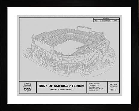 Amazon carolina panthers bank of america stadium framed carolina panthers bank of america stadium framed blueprint wall art malvernweather Images