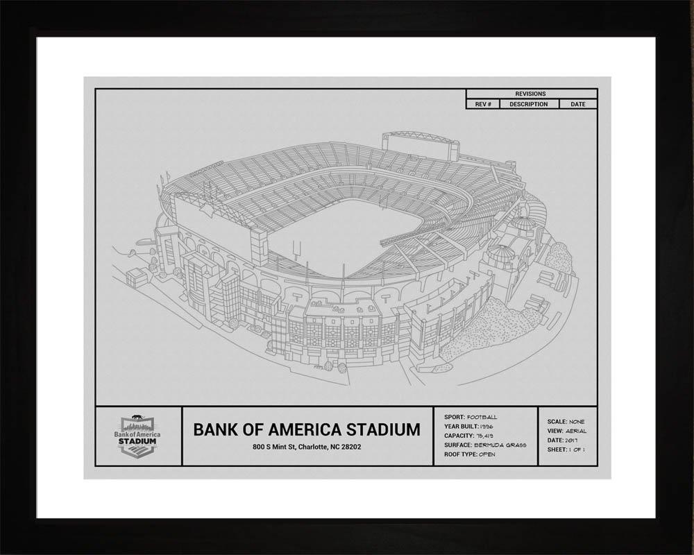 Carolina Panthers Bank of America Stadium Framed Blueprint Wall Art by Art Source