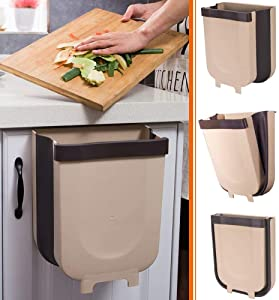 Hanging Trash Can for Kitchen Cabinet Door - Small Collapsible Foldable Waste Bins - Versatile Hanging Trash Can by Hoobii - 8L