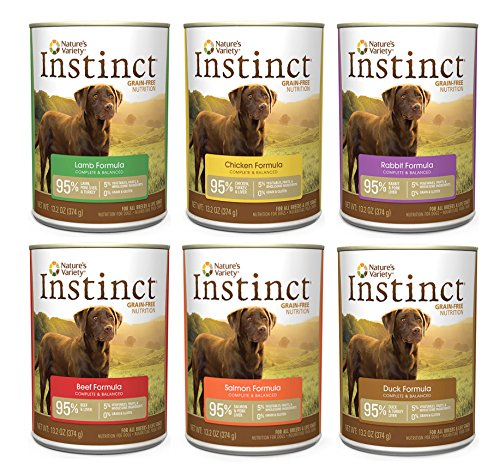 Nature's Variety Instinct Wet Dog Food Variety Pack - 6 Flavors (Beef, Lamb, Rabbit, Chicken, Salmon, & Duck)- 13.2 Oz Each (6 Total Cans)