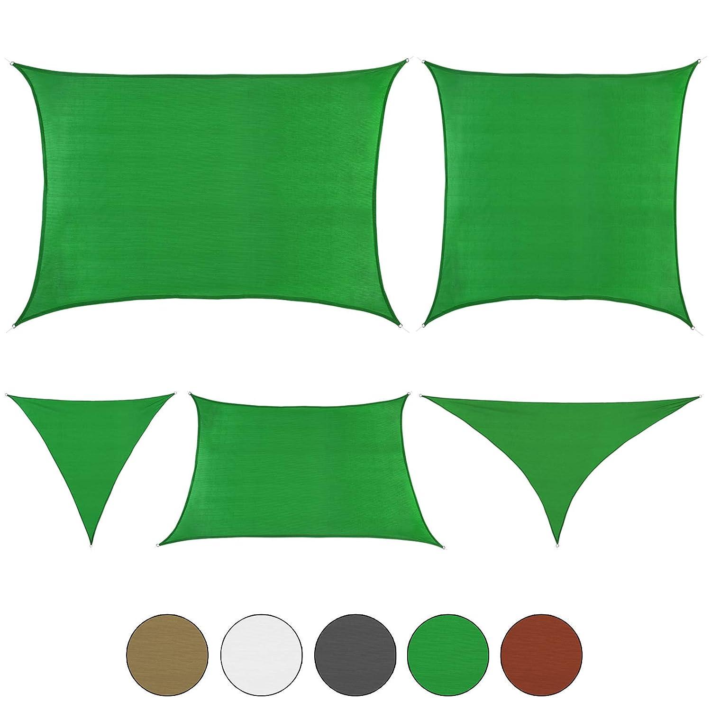 BB Sport Tenda a Velo da Sole Vela Sole in Formati e Colorei Vari con Protezione Solare UV 90%, colore Smeraldo, Dimensione 6m x 6m x 6m