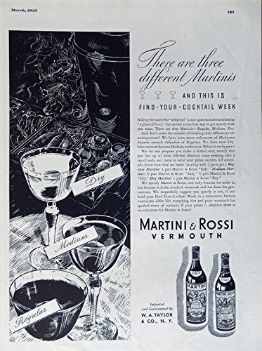 Martini and Rossi Vermouth, 1935 Print Ad. B&W Illustration (there are three different Martinis... and this is find-your-cocktail week. regular, medium, dry) authentic original vintage 1935 Esquire Magazine Art (Martini Rossi Dry Vermouth)