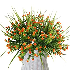 Wcysin 4 Bouquets Artificial Outdoor Plants Fake Plastic Flowers Real Touch Greenery for Wedding Kitchen Home Office Indoor Grave Table Centerpiece Decoration 6
