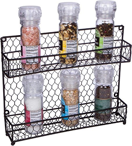 - Trademark Innovations 2-Tier Wire Spice Rack Storage Organizer - Wall Mount or Countertop by Black
