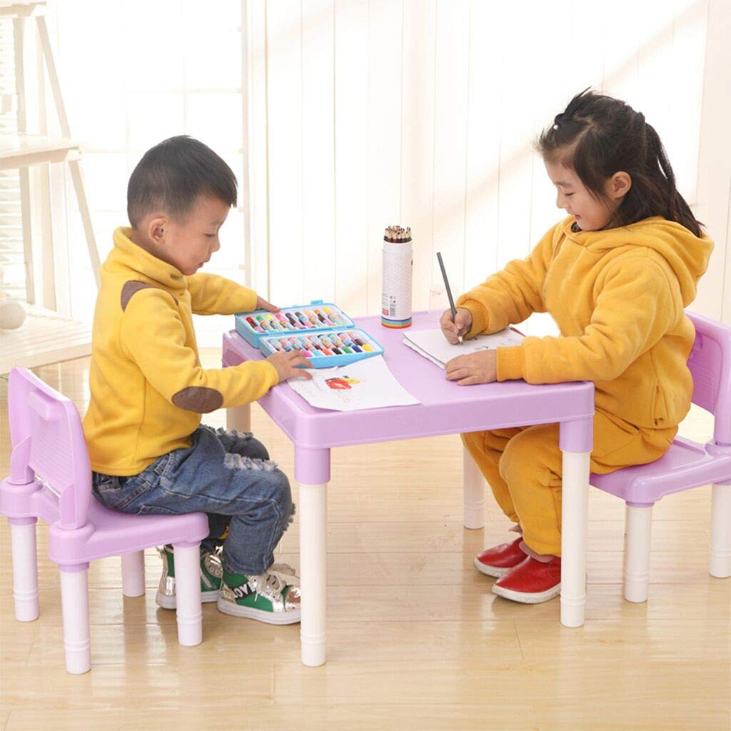Childrens Study Table Set Set for Boys Or Girls Toddler Kindergarten Childrens Chair Painting Chair Kids Furniture Set Light Blue Aimik Plastic Kids Table and 2 Chairs Set