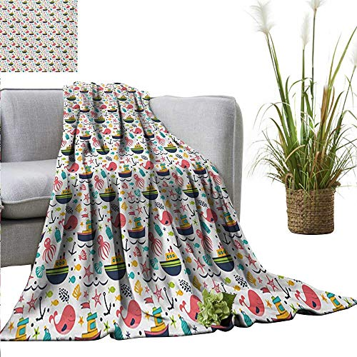 Sheets 300gsm 50 (Travel Throw Blanket,Kids,Summer Style Nursery Pattern with Steamboat Octopus Anchor Sea Starfish and Seashells,Multicolor,300GSM, Super Soft and Warm, Durable 50
