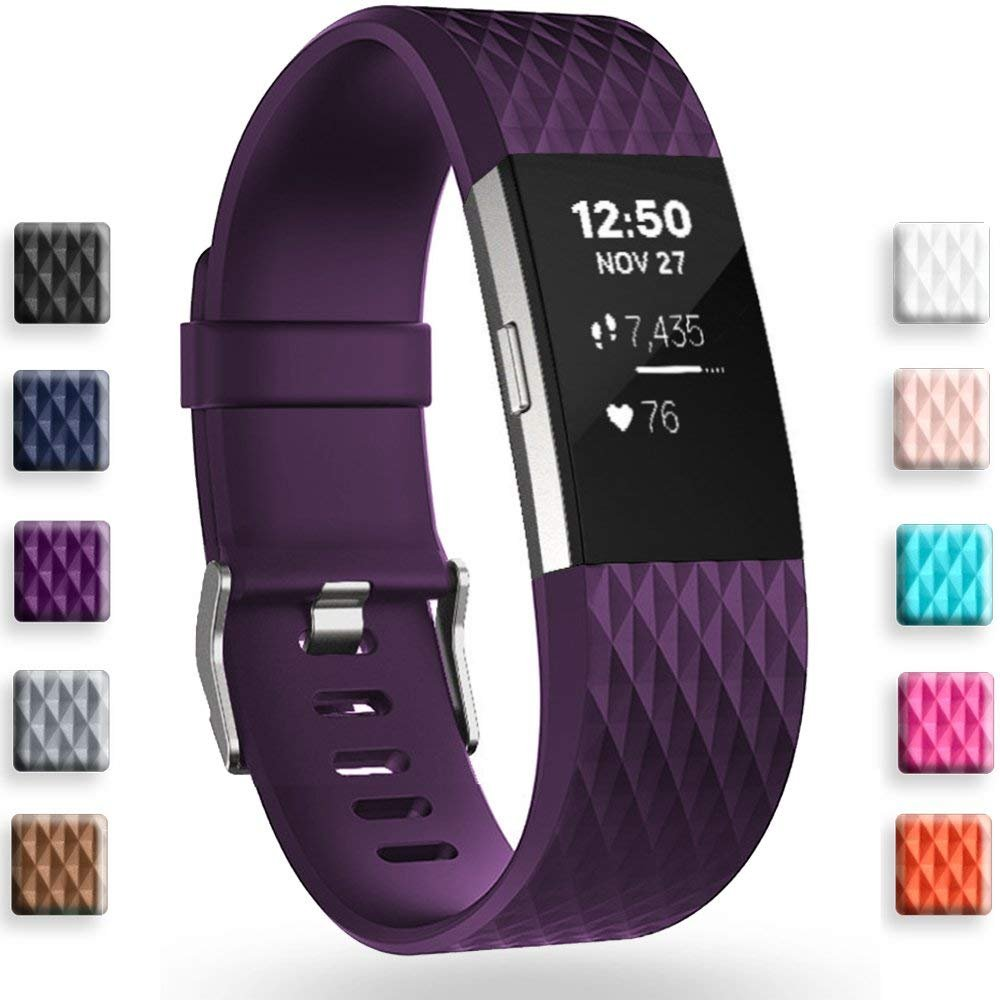 Geak Fitbit Charge 2バンド、Special Edition交換用バンドfor Fitbit charge2 Large Small 12異なる色 B077TQ84P2 Large|Buy Black Get Plum Band for freeDiamond Design Buy Black Get Plum Band for freeDiamond Design Large