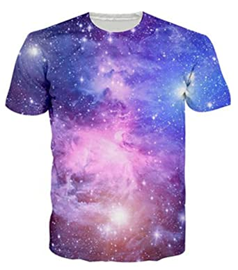 4757e20c306699 Idgreatim Mens Casual 3D Printed Space Short Sleeve T-Shirt Graphic Tees