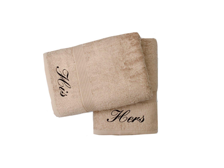 Bordado His & Hers Natural/Beige par de toallas de baño: Amazon.es: Hogar