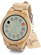 BOBO BIRD Unisex Bamboo Wood Watches 12 Holes Timer Design With Cowhide Leather Strap Analog Quartz Wrist Watch