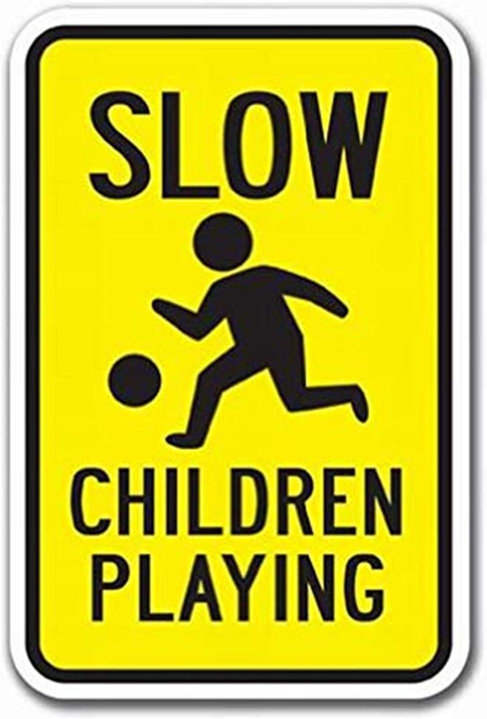 "Lplpol Metal Tin Sign Decor Slow Children Playing Sign Heavy Gauge Signs 12"" x 18"""