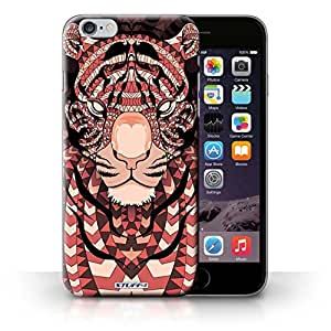 MldieromPrinted Hard Back Case for iPhone 6+/Plus 5.5/Aztec Animal Design collection/Tiger-Red