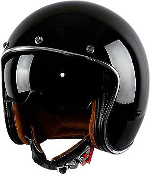 Motorcycle Helmet 3//4 Open Face Helmet with Shield Glossy Black XXL