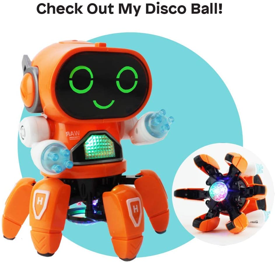 Battery Operated Boley Pioneer Dancing Robot in White and Blue Walking Dancing Electronic Robot Toy for Kids with Disco Flashing Lights and Dance Music