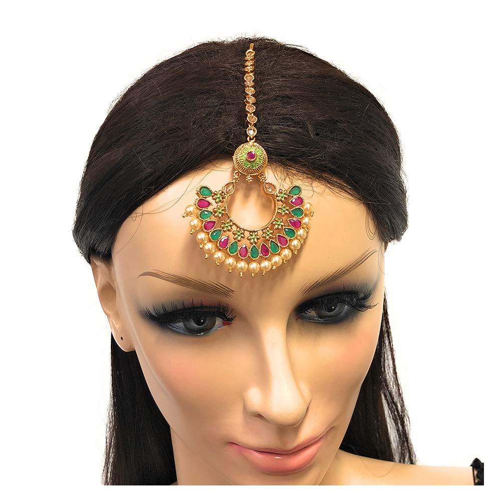 Ethnic Indian Pakistani Gold Plated Chandbala Edarring with Maang Tika Head Ornament in Cubic Zircon