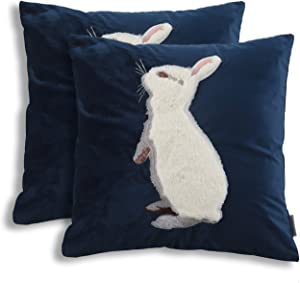 EverGrace Luxury Velvet Throw Pillow Covers for Sofa Couch Bed Home Decor, 2-Pack 18x18 inches High-end Embroidery Soft Rabbit Easter Bunny Decorative Pillow Covers