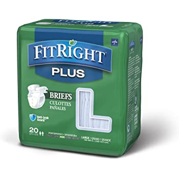 FitRight Plus Adult Briefs with Tabs, Moderate Absorbency, Large, 48