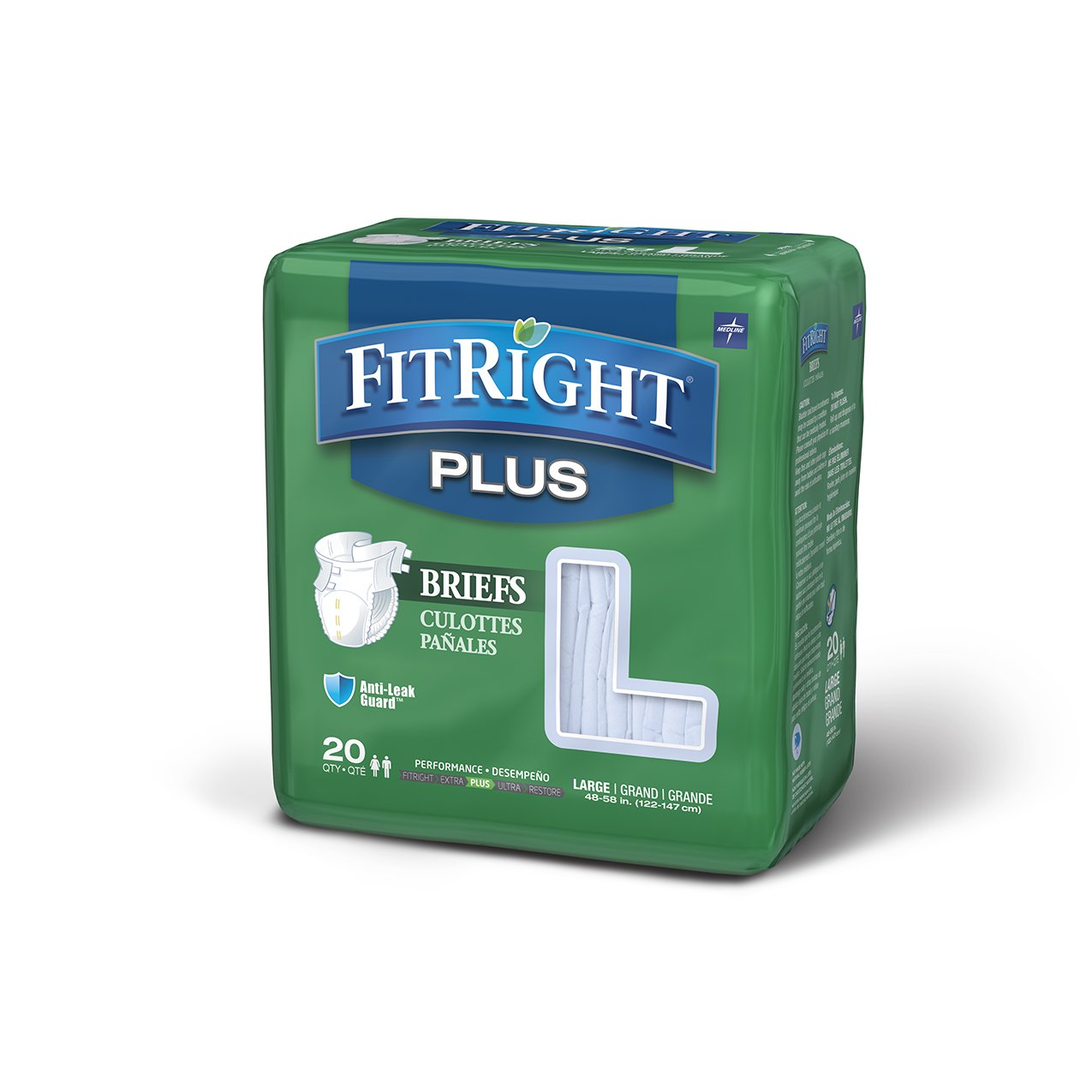 FitRight Plus Adult Diapers, Disposable Incontinence Briefs with Tabs, Moderate Absorbency, Large, 48''-58'', 4 packs of 20 (80 total)