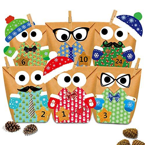 Adventskalender zum Befüllen-24 adventskalender tüten+Adventskalender Zahlen+24 Mini Holzklammern als geschenktüten-Weihnachten zum Basteln und Befüllen