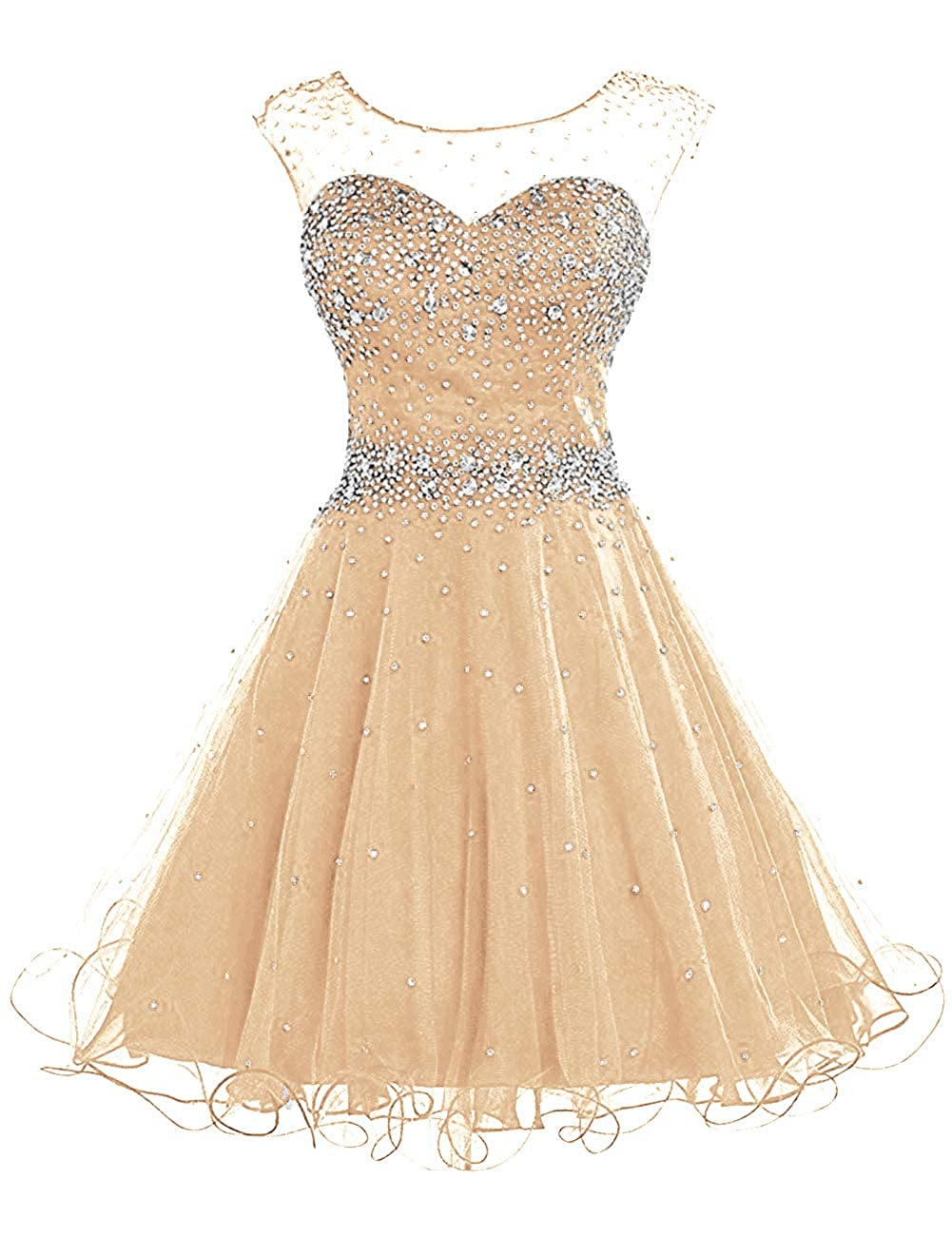 Champagne H.S.D Homecoming Dresses Prom Party Dresses Short Cocktail Dress Beads Graduation Gown