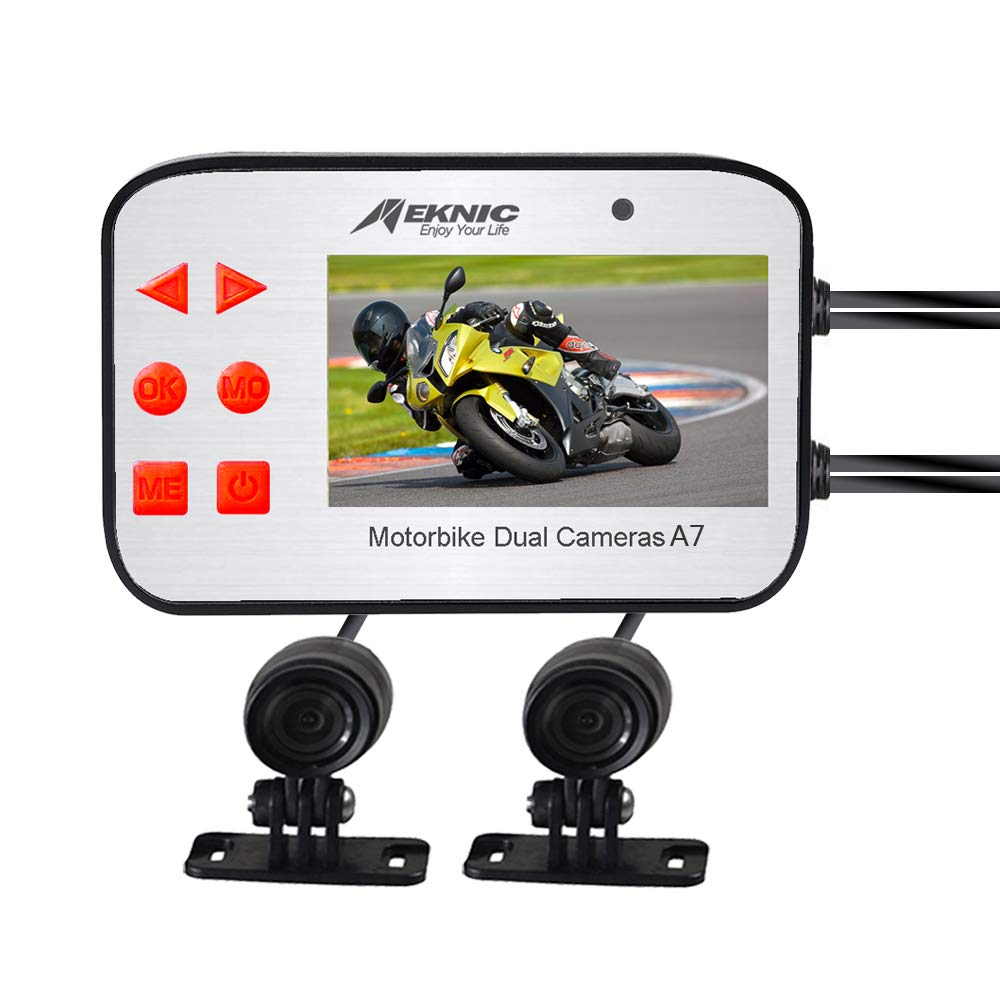 Meknic A7 Motorcycle Camera, Dual Lens 1080P Video Security Motorbike Camera System with 2.7' Screen, Motorcycle Dash Camera, Waterproof Motorcycle Driving Recorder with G-Sensor, Loop Recording, WDR Supremevalue International CO. Ltd