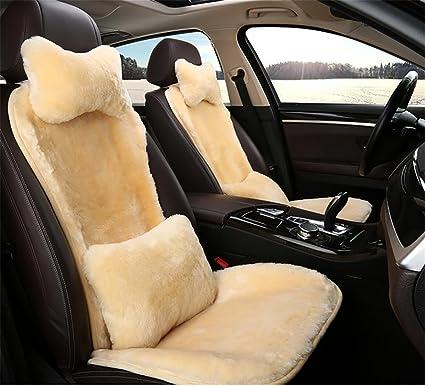 RUIRUI Winter Warm Wool Cushion Short Plush Car Seat Cover Beige