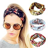 Women Sports Headband Criss Cross Head Wrap Boho Floal Style Hair Band-4 Pack