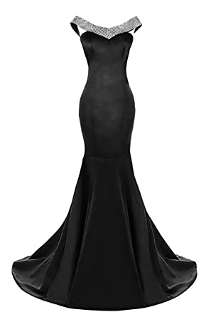 Kings Love Off Shoulder Mermaid Prom Dresses Long Satin Crystal Beaded Evening Party Dress Black US2