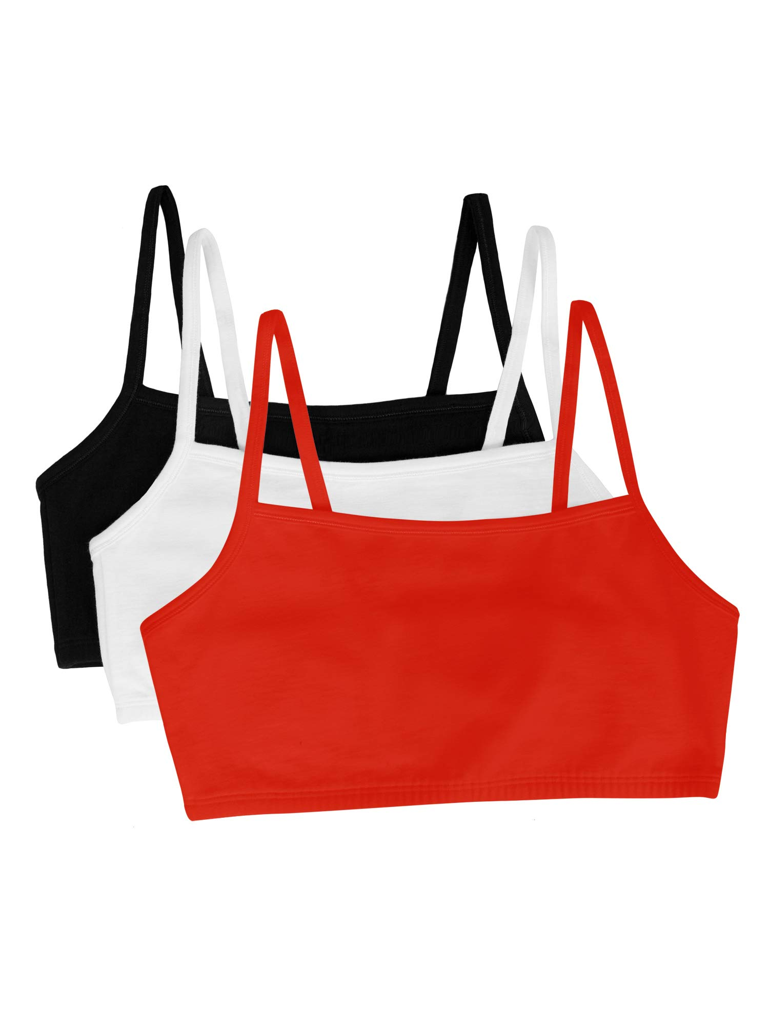 Fruit of the Loom womens Cotton Pullover Sport Bra, black/white/red hot 38 by Fruit of the Loom