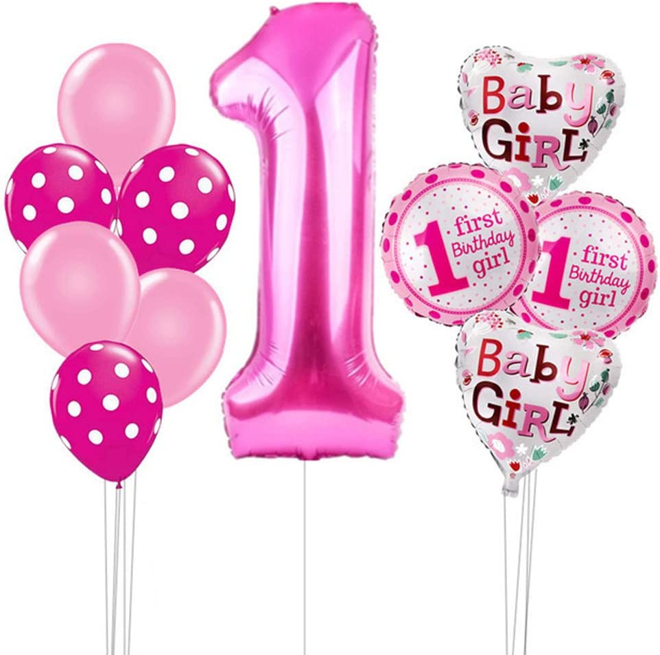 Hongkai 40Inch Number 1 1st Birthday Girl Decoration Set,Baby Girl First Birthday Supplies with Happy Birthday Banner Birthday Pink Latex Foil Balloons for Birthday Party Decoration