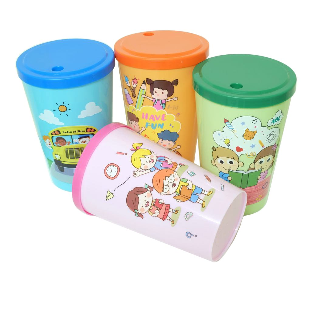 Cup with lid 16oz plastic tumblers reusable for party kids holder 4 pack Back to school