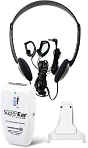SuperEar Rechargeable Sound Amplifier Complete System with Headphones and Earbud Increases Sound 50dB 3 Tone Frequency Selection Facilitates cms MDS 3.0 Assessment and ADA Compliance