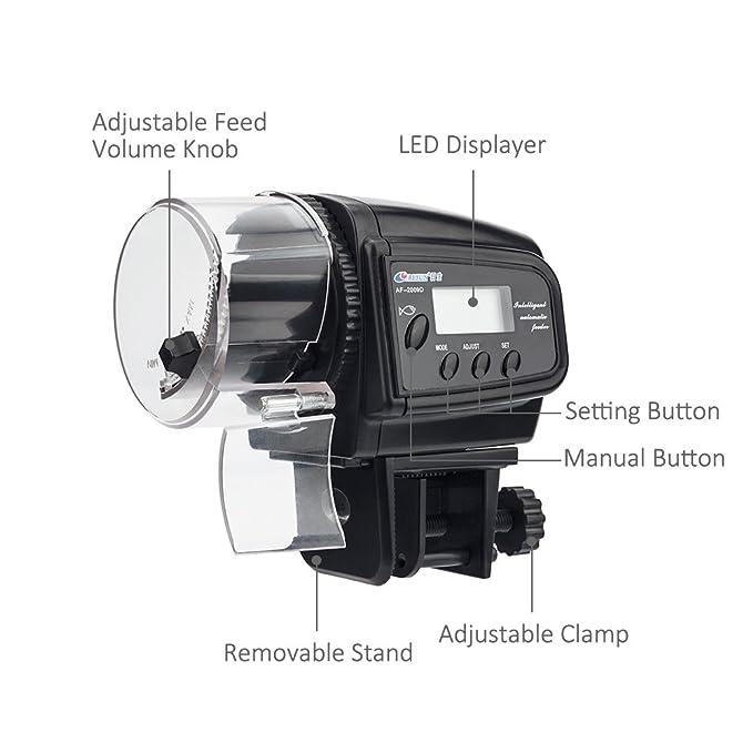 NICREW Alimentador Peces Automático, Dispensador de Comida Acuario, Alimentador Automático de Peces para Acuario con LCD Pantalla e Temporizador para ...