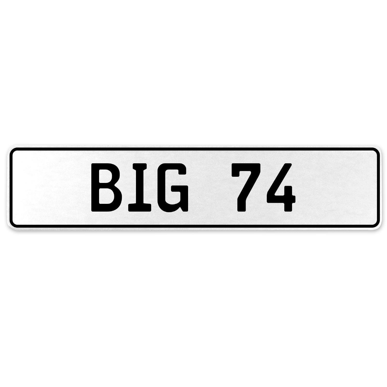 Vintage Parts 556453 Big 74 White Stamped Aluminum European License Plate