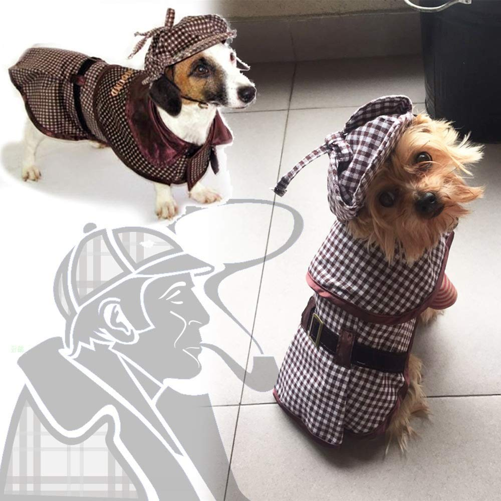 Medium Coppthinktu Sherlock Holmes Dog Costume Famous Detective Dogs Outfit