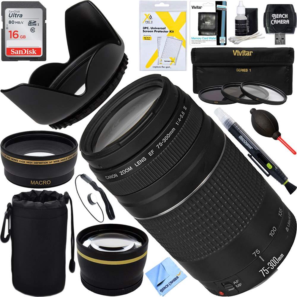Canon EF 75 – 300 mm f4 – 5.6 IIIレンズ+ 16 GB広角&望遠究極EOSレンズキット(認定Refurbished)   B01N6NB4UR