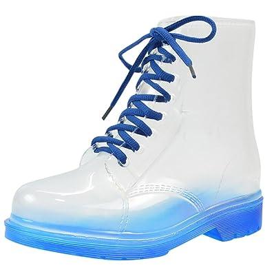 LvRao Damen Schnee Regen Schuhe Warm Transparente Stiefeletten Gefütterte Gummistiefel Wasserdichte Kurze Stiefel mit Schnürsenkel Blau Europäische Größe 38 NRpTx59K0