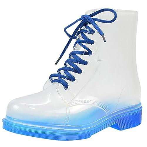 günstig Beste laest technology LvRao Damen Schnee Regen Schuhe Warm Transparente Stiefeletten Gefütterte  Gummistiefel wasserdichte Kurze Stiefel mit Schnürsenkel