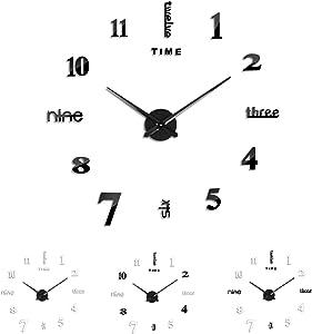 3 IN 1 FERRISA Large 3D Frameless Wall Clock 47 Inch, Modern Silent Mirror DIY Wall Clock Kit for Living Room Bedroom Office Decor, Including One Black Movement + 2 set Digital Plates( Black +Silver )