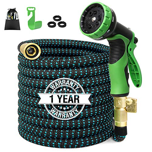 100ft Expandable Garden Hose Expanding Water Hose with 100% Solid Brass Valve 9 Function Hose Nozzle, Flexible Outdoor Hose 100″ Lightweight Gardening Yard Hoses No Kink Cloth Hose (2019 Newest)