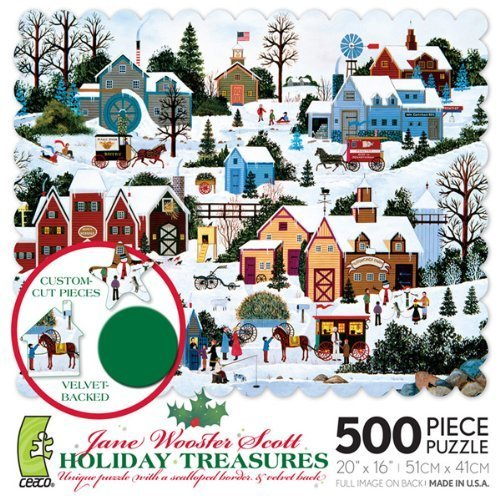 Jane Wooster Scott HOLIDAY TREASURES unique puzzle with a scalloped border & velvet back 500 Piece Puzzle by Jane Wooster Scott Puzzle
