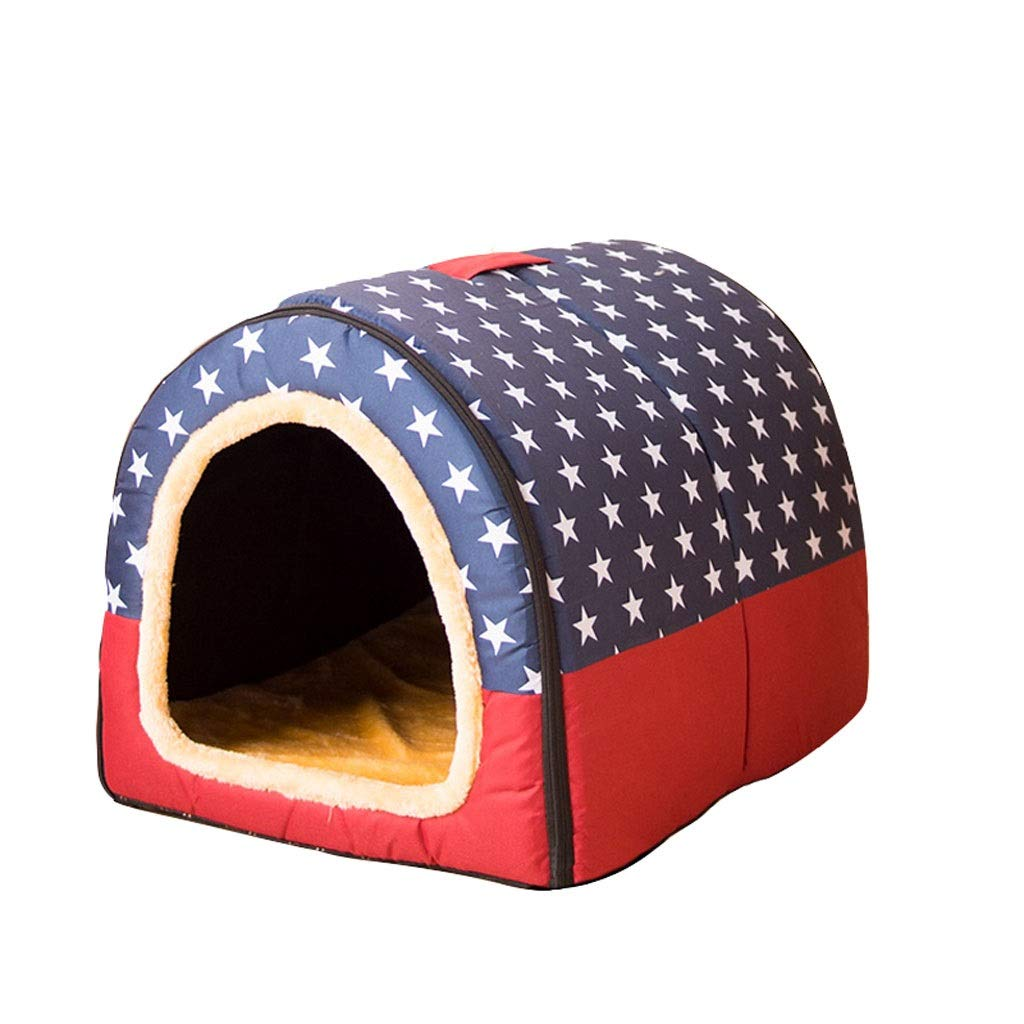 C SmallB&F Kennel, 2 In 1 Dog House Large Dog Winter Warm Washable Mattress House Pet Supplies Cat Caves (color   A, Size   XL)
