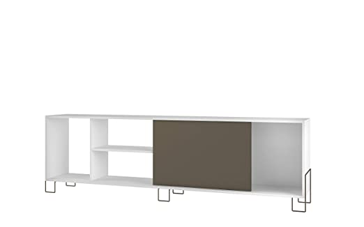 WHYNOTHOME Mesa TV con Patas metálicas acabada en Color Blanco y ...