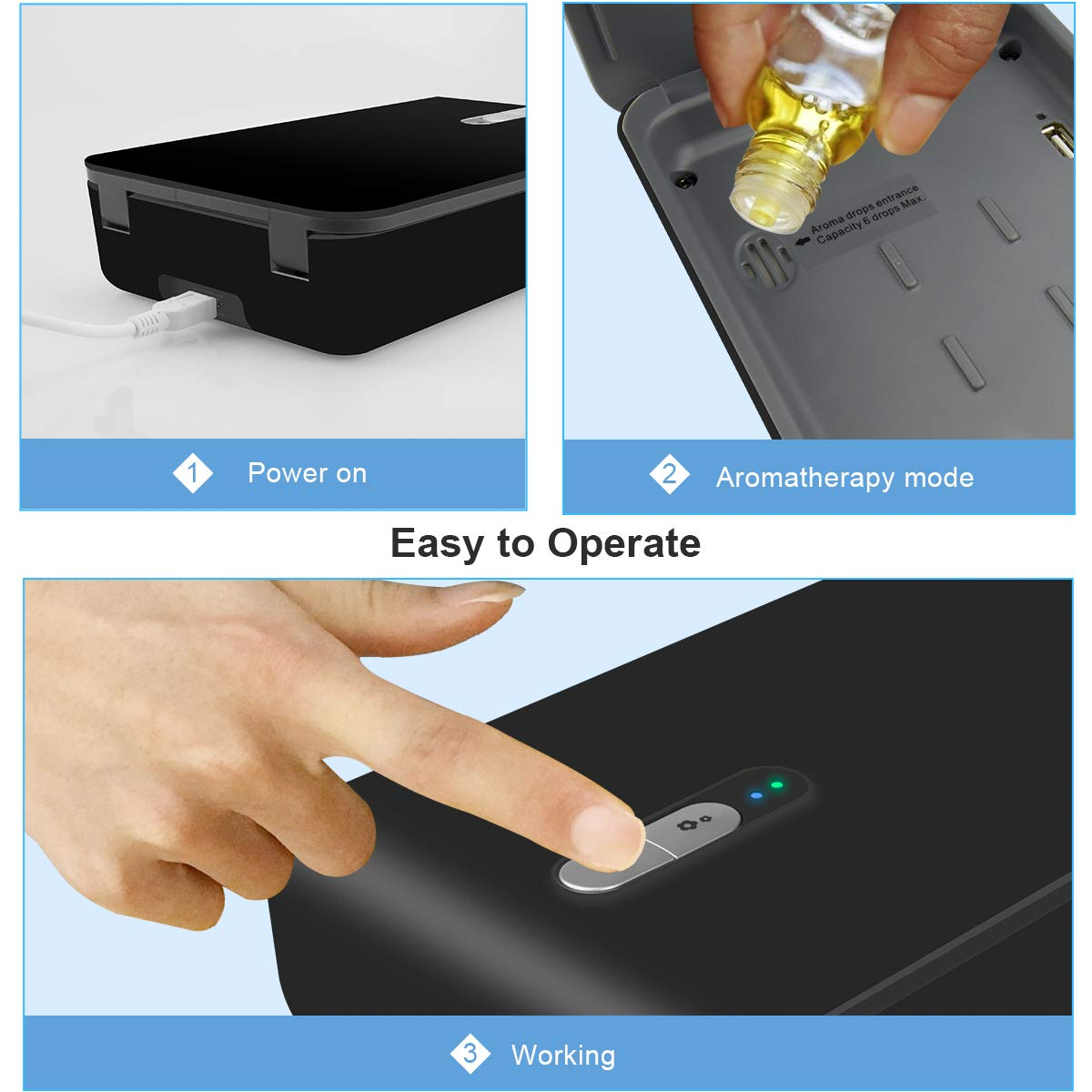 UV Phone Sanitizer, SOELAND Portable UV Smatrphone Sterilizer Cleaner Case  with Aromatherapy Function, Multi-use Cellphone Disinfection for Iphone