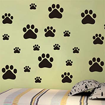 Animal huellas de perro pegatinas de pared para habitaciones de ...