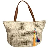 Raffia Straw Tote Bag with Pom Pom Tassel Clip and Leather Handles (tan)