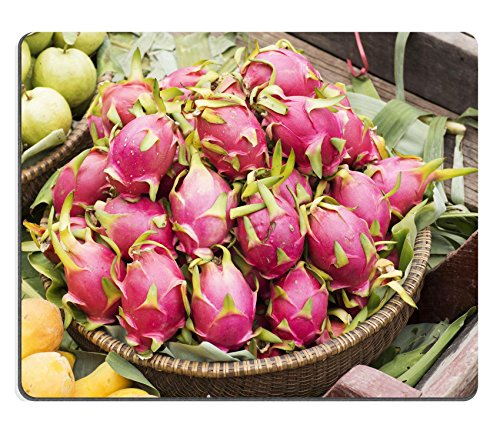 MSD Natural Rubber Mousepad IMAGE ID: 30407705 Pink pitahaya dragon fruit in basket on Floating Market