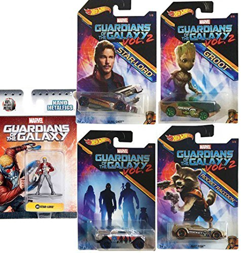 Guardians of the Galaxy Mini Figure Star-Lord Hot Wheels Groot / Rocket Raccoon Cars Marvel Vol. 2 Exclusive 4-Pack & Star-Lord Metal Nano Jada Figure (Homer Simpson Necklace)