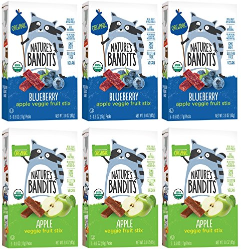 Kosher Organic Cookies - Nature's Bandits Organic Fruit & Veggie Stix - Variety Pack (Apple & Blueberry), 6 Boxes of 0.6 ounce 5 pack box- Gluten Free, Vegan, Kosher